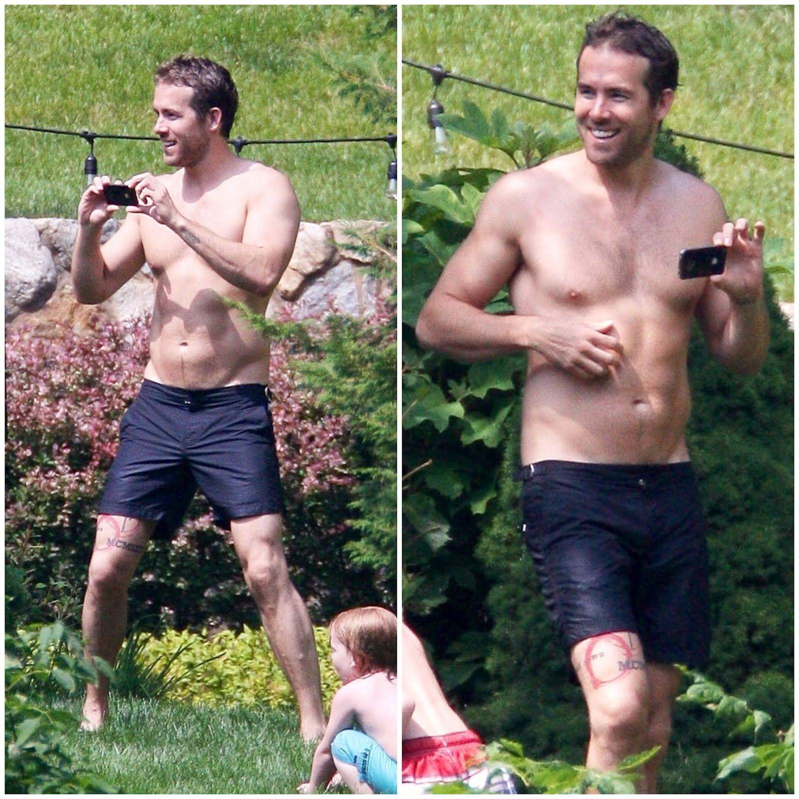 Ryan Reynolds on holiday wearing Orlebar Brown Navy ...
