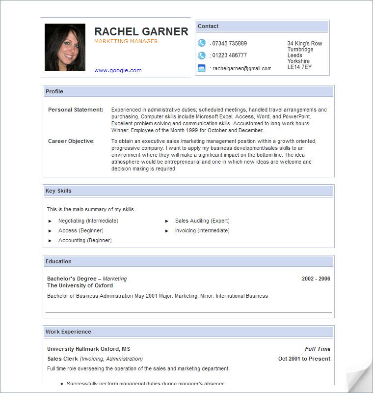 curriculum vitae template free download south africa free