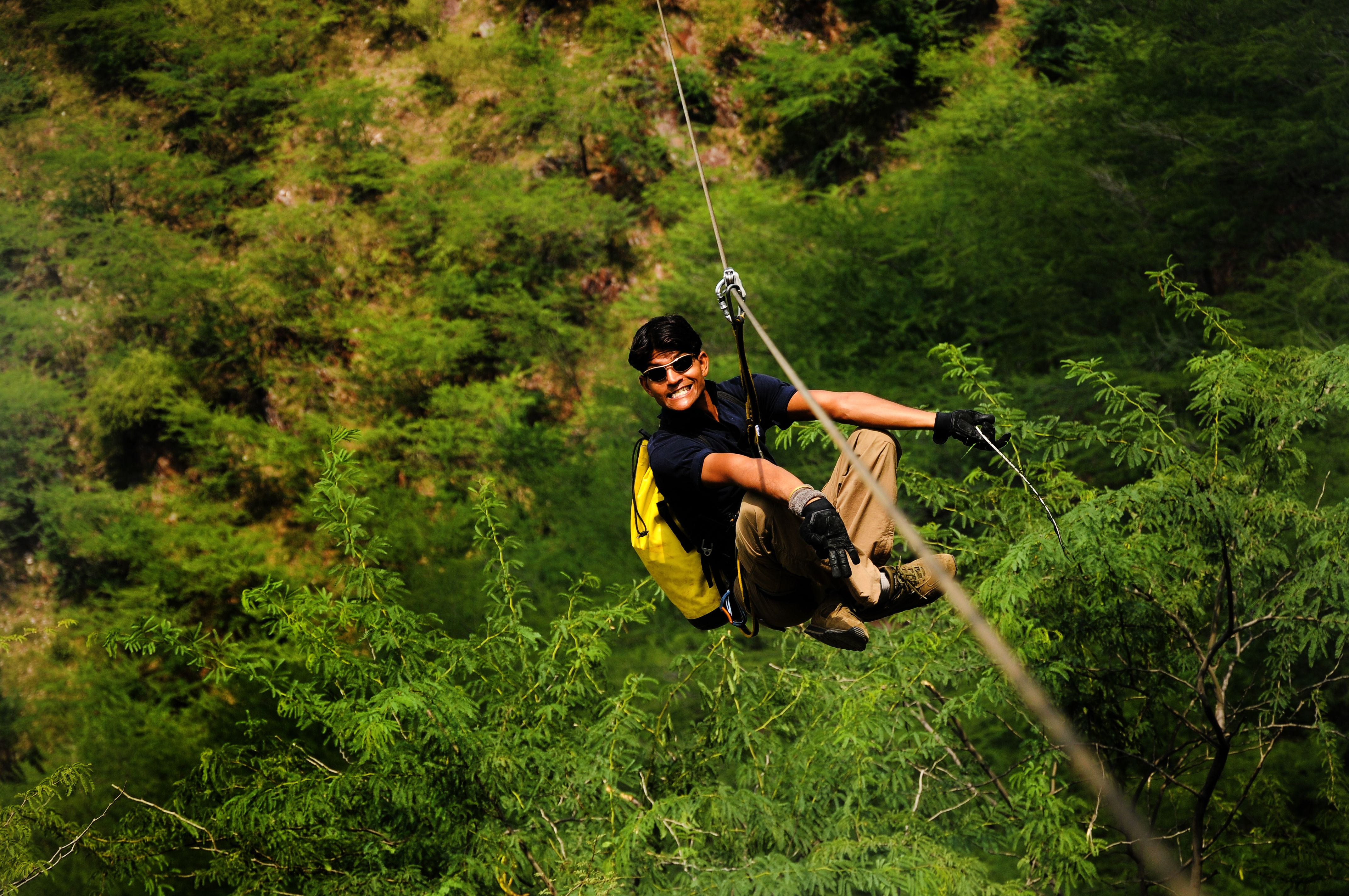 flying fox zip lining at kikar lodge 1500 metres zip line tour
