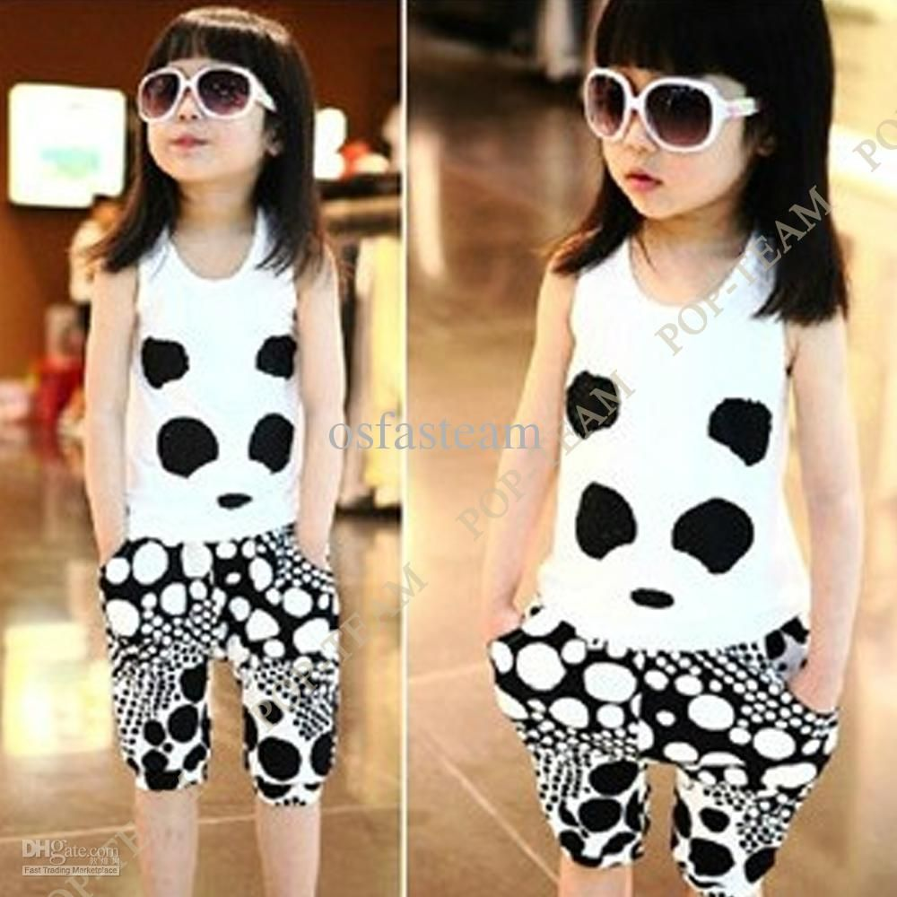 2017 Cute Girls Kid Panda Clothes Summer Top Vest Pants Outfit Set ...