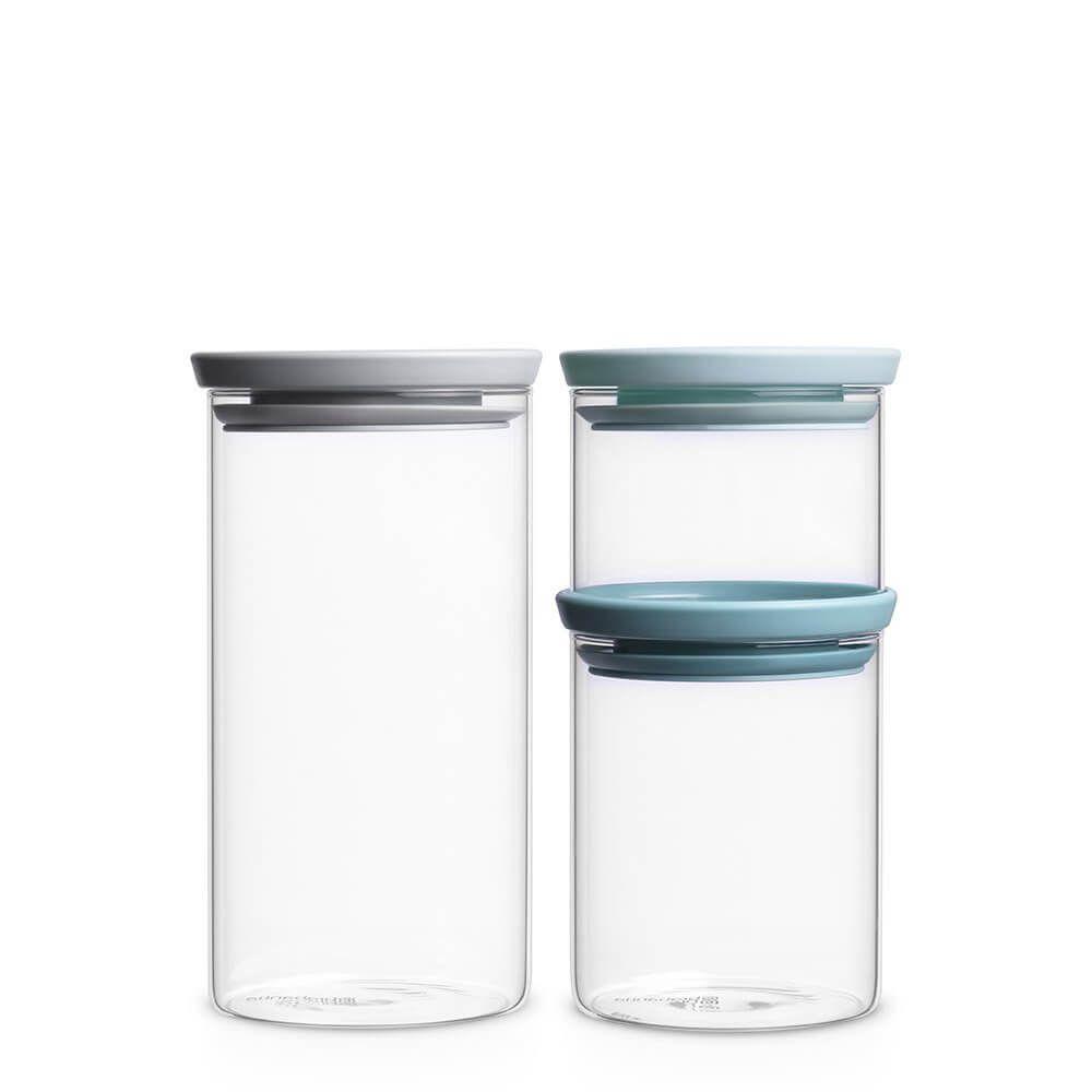 3 Teiliges Stapelbares Glasbehalter Set 0 3l 0 7l Und 1 1l