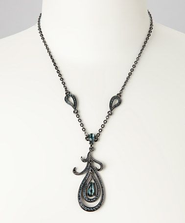 Take a look at this Blue Sparkle & Gunpowder Teardrop Pendant Necklace by Amabel Designs on #zulily today!
