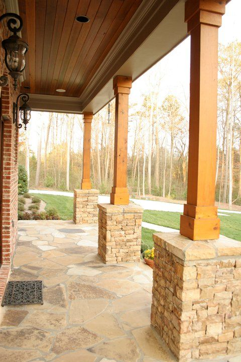 Western Red Cedar 8x8 Beams Used For The Columns And V Joint Paneling For The Ceiling Front Porch Posts Porch Columns Front Porch Columns