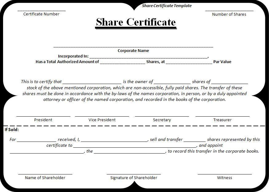 Share-Certificate-Template wordstemplates Pinterest - no objection certificate template