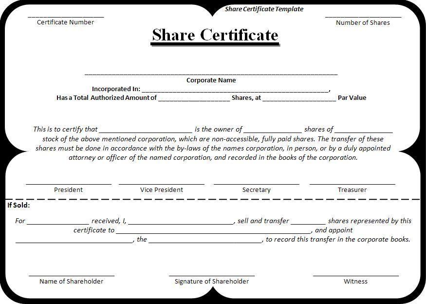 Share Certificate Template Wordstemplates Pinterest