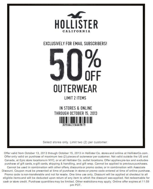picture about Hollister Printable Coupon known as Hollister: 50% off Outerwear Printable Coupon Couponing