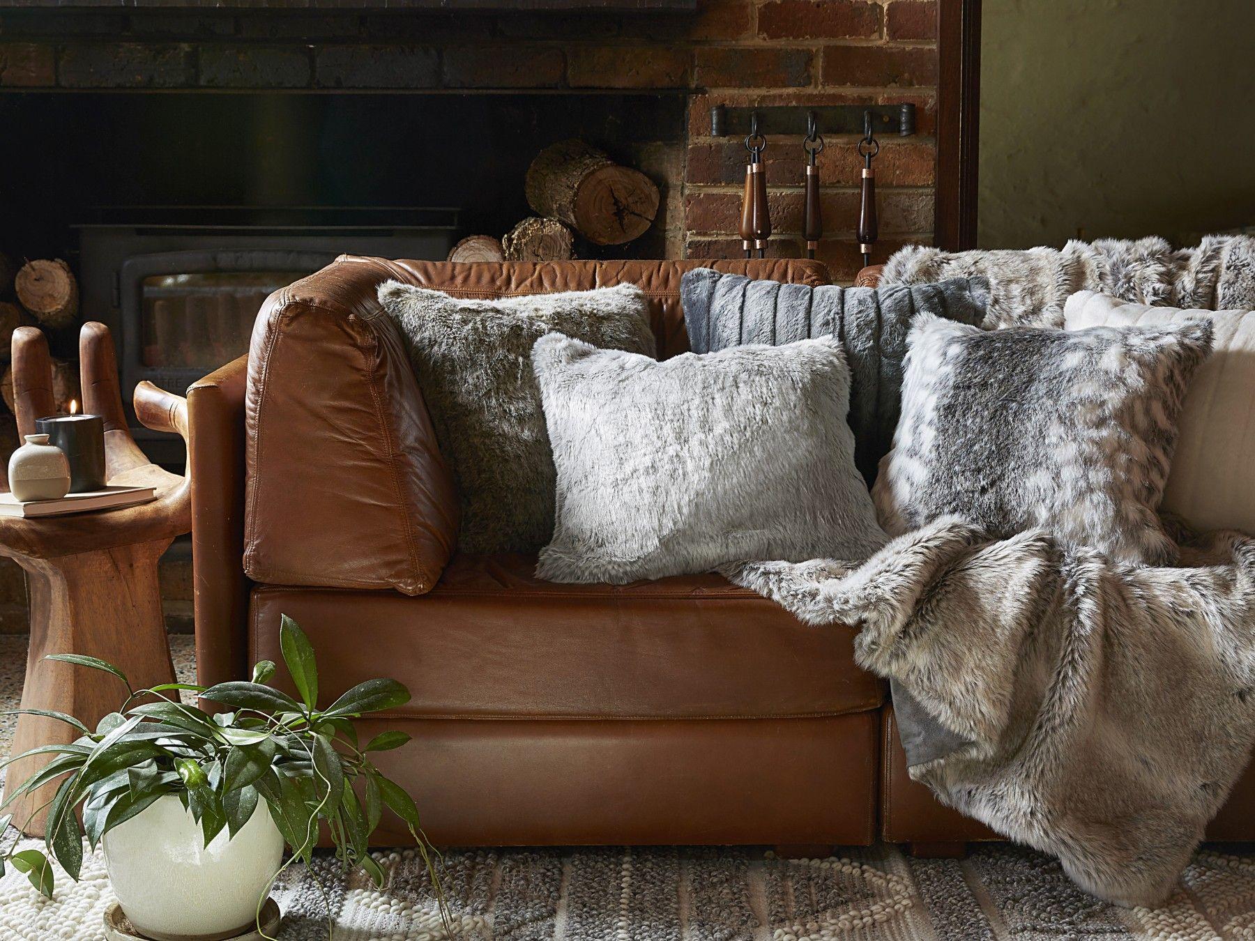 Arctic faux fur cushion bed bath n table couches
