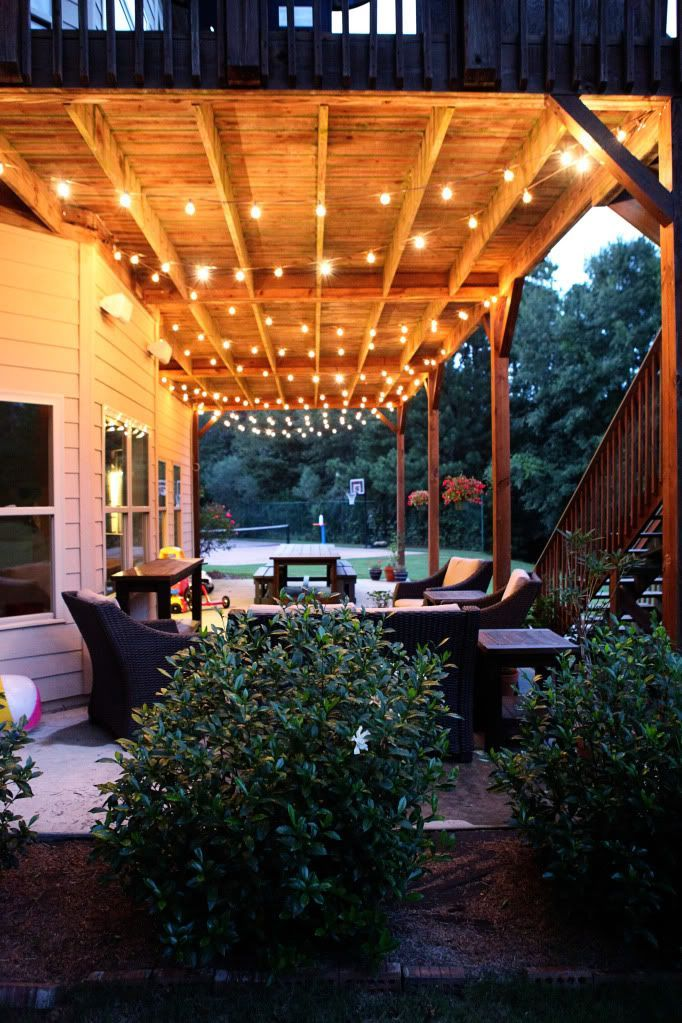 Swag chainlink decking patios and spaces Patio and deck lighting ideas