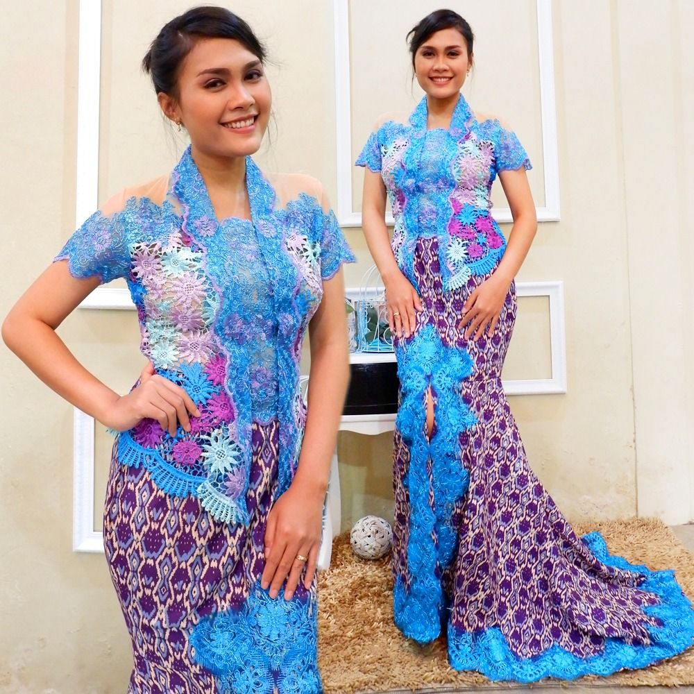 Kebaya Casual Brokat Modern Kutubaru Rok Batik Duyung Minat Hubungi
