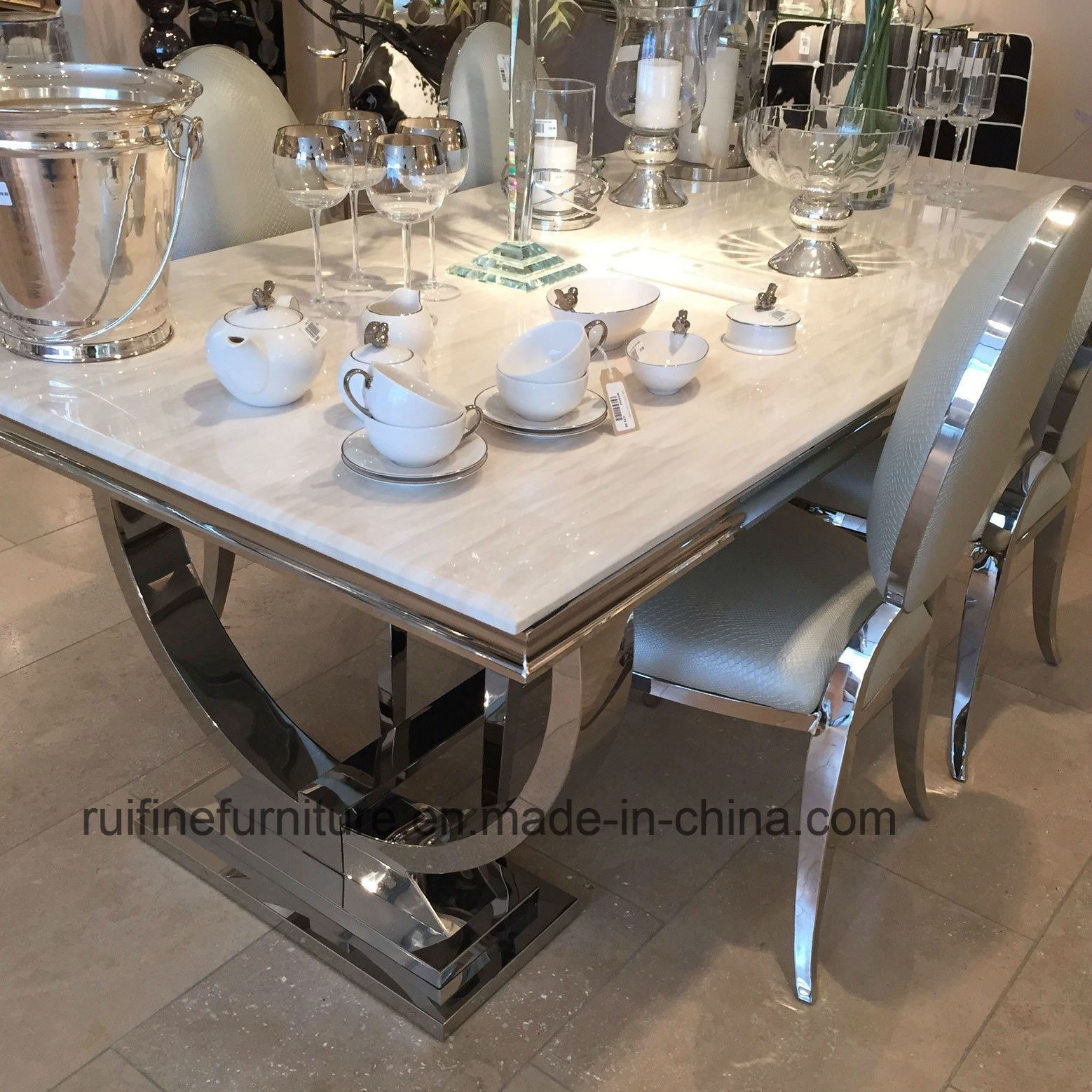 Creative Modern and Natural Arianna Grey Cream Marble Dining Table Stainless Steel Snake Skin Leather Chair  China Dining Table, Dining Table and Chair   MadeinChina com is part of Chrome dining table -