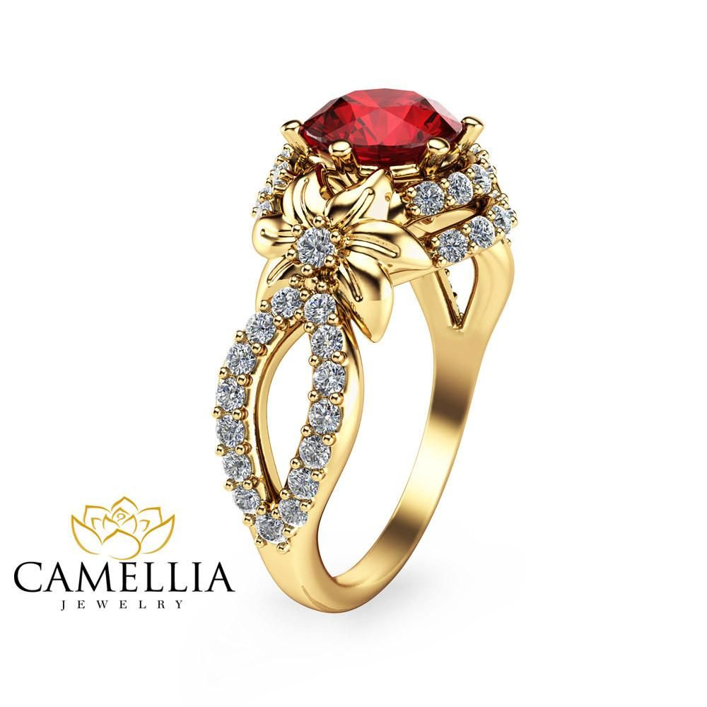 Unique 14K Yellow Gold Ruby Engagement Ring Flower