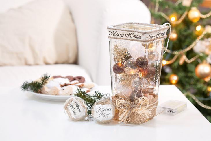 Dekorationen zu Weihnachten: Glasvase mit Kugeln und Lichterkette. Kreativ selbstgemacht. #anleitung #tutorial #advent #x-mas #christmas #weihnachtsbeleuchtung