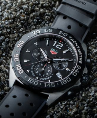 94f8169d6e8 Tag Heuer Men s Formula 1 Chronograph Black Rubber Strap Watch 43mm - Black