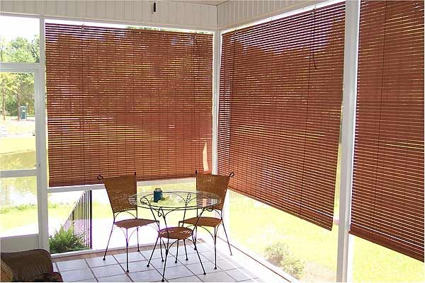 Outdoor roll up shades for decks basswood roll up woven for Roll down screens for porch