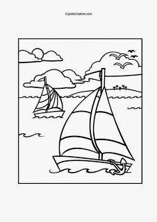 Lembar Mewarnai Untuk Balita Tk Mewarnai Perahu Layar Dan