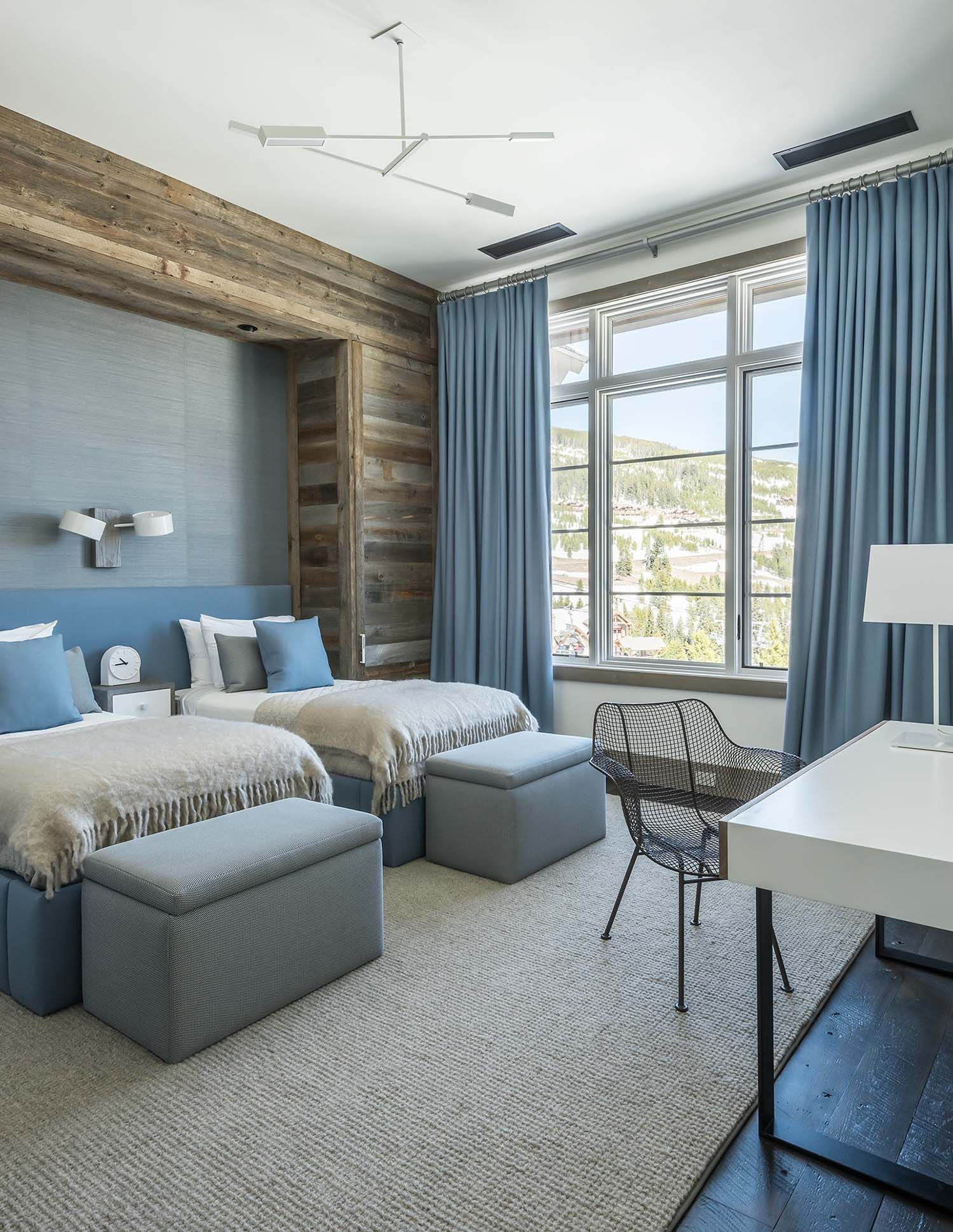 Hillside snowcrest the ultimate modern rustic ski chalet in montana blue bedroom also exciting grey ideas for extraordinary place to sleep rh pinterest