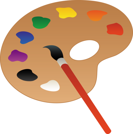 clip art of a wooden art palette with paint and brush sweet clip rh pinterest com paintbrush and palette clipart paintbrush and palette clipart