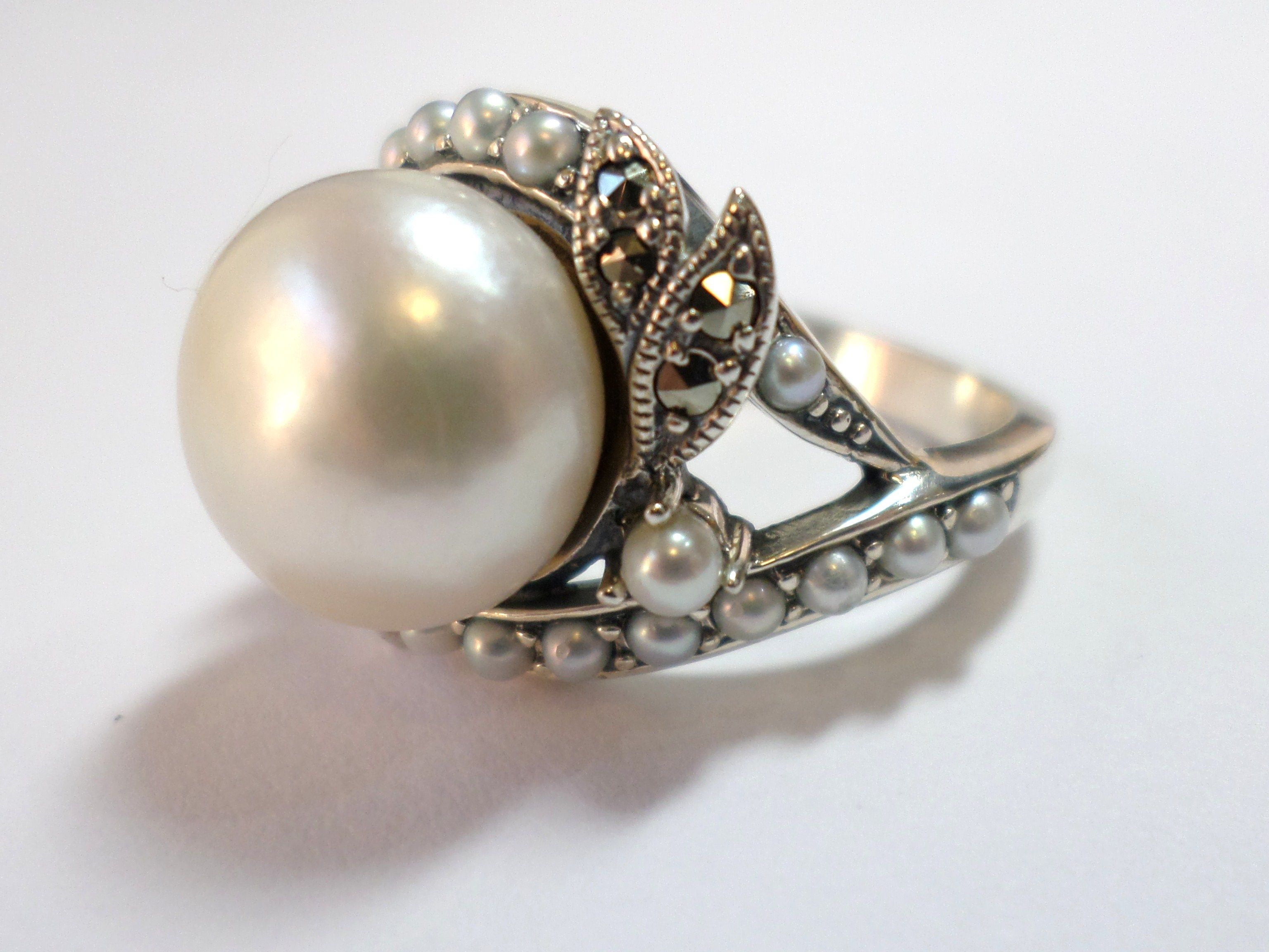 Sterling Silver Ring Set With Marcasite And Cultured Freshwater Pearl Vintage Antique Reproduction Jeweller Marcasite Jewelry Jewelry Sterling Silver Rings Set