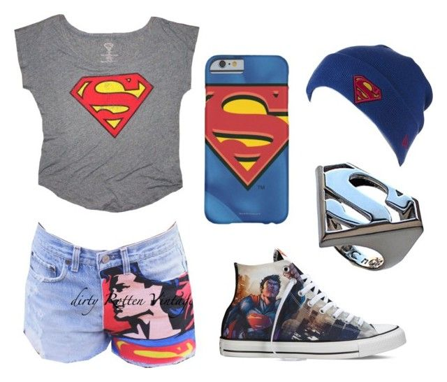 """""""Superman"""" by girlybunny ❤ liked on Polyvore featuring Converse, New Era and Noir"""