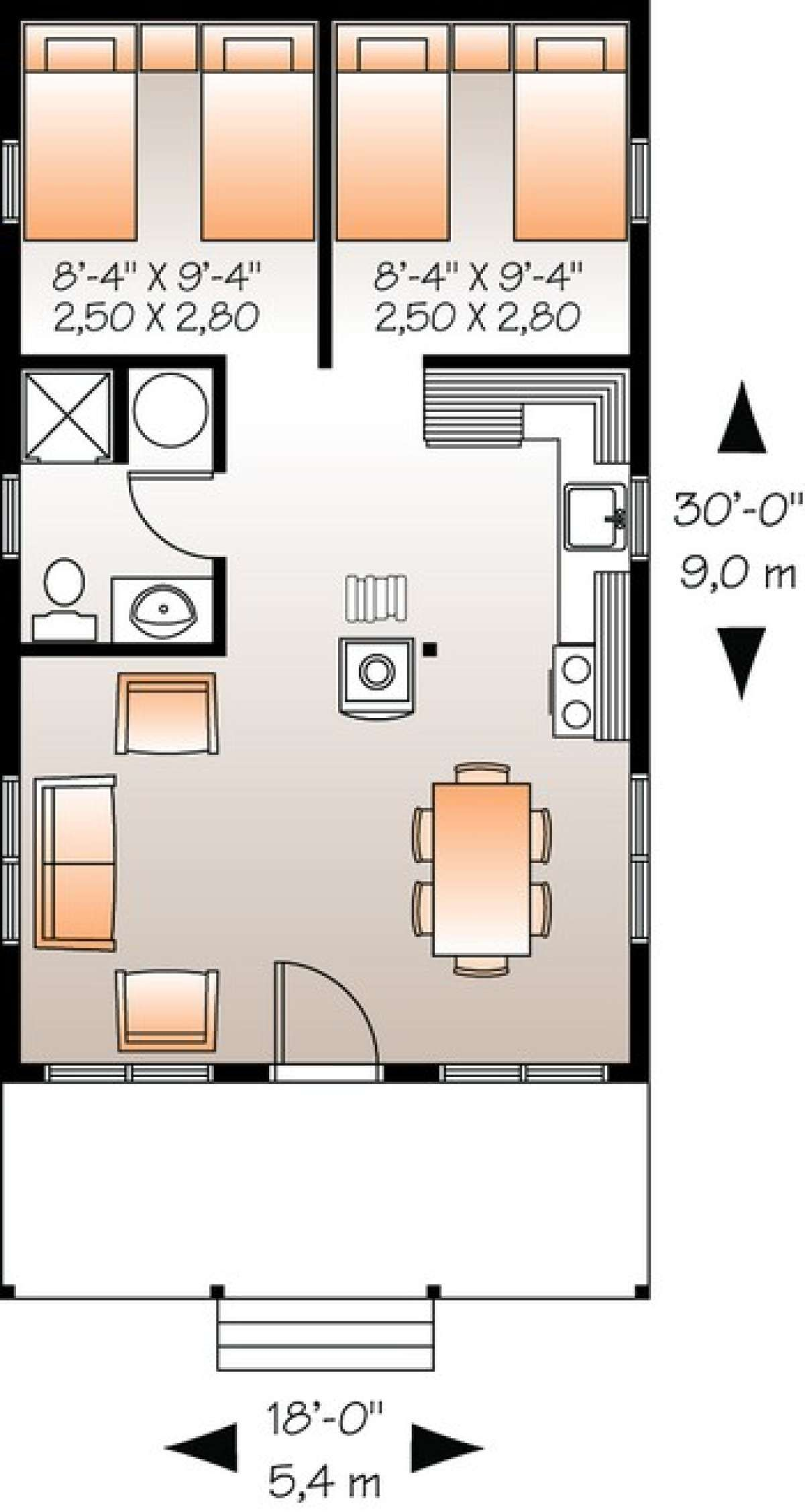 House Plan 03400178 Vacation Plan 540 Square Feet, 2
