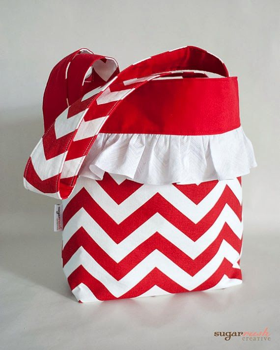 Red Chevron Tote Bag with Ruffles | Online auction for Ekubo Children's Home in Uganda!!!