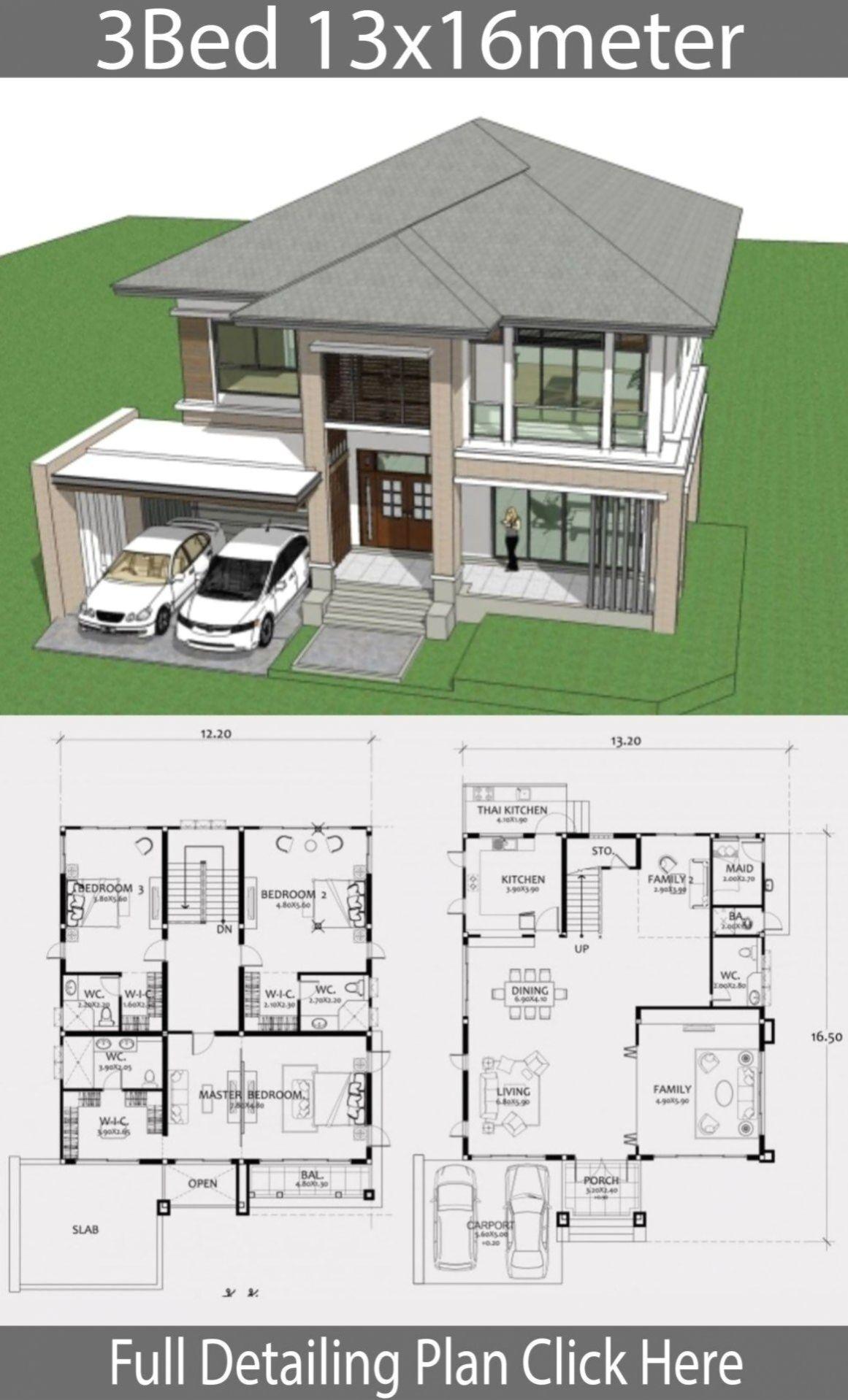 Home Design Plan Xm Mit 3 Schlafzimmern P E Arsitektur Rumah Denah Desain Rumah Denah Rumah