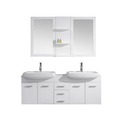 "Virtu Ultra Modern Series 59"" Double Bathroom Vanity Set with White Top and Mirror Base Finish: White, Faucet Finish: Polished Chrome"