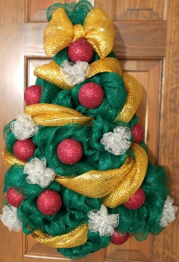 Christmas tree wreath, hand crafted of metallic green deco mesh