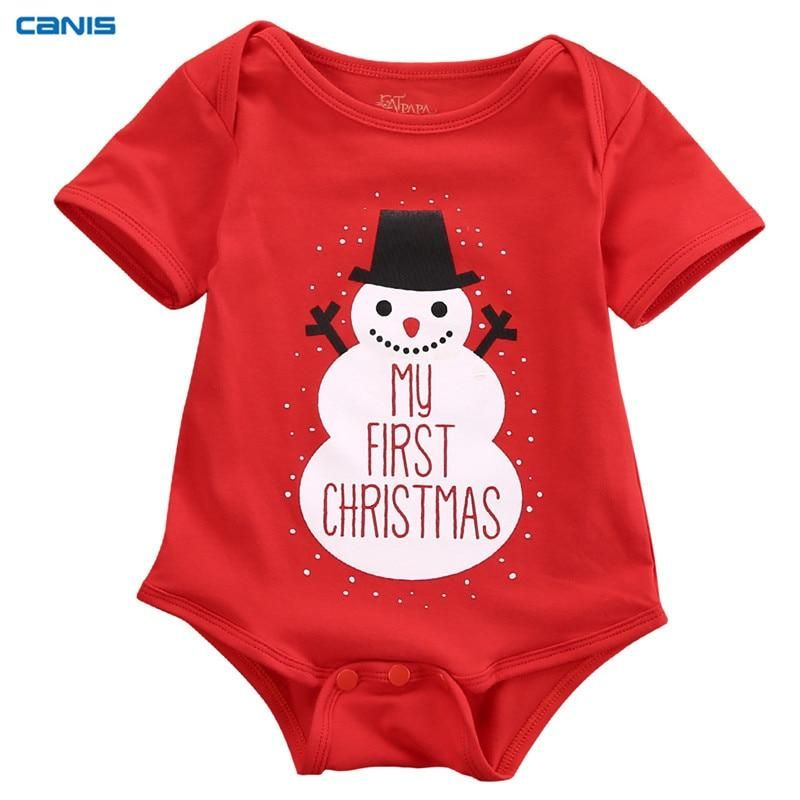 Canis Newborn Infant Christmas Baby Girl Boys Rompers Jumpsuit