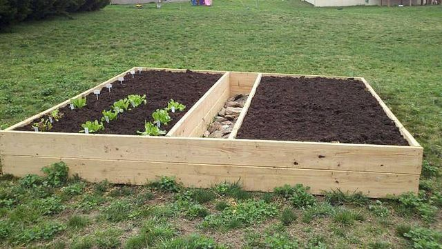 Our raised garden bed this year (at least the start of it) Using only mushroom soil...have lettuce, spinach, onions and peas started so far (with my little stone walkway in the middle so I can reach both sides)...will probably plant the rest Mothers Day weekend. -Gretchen