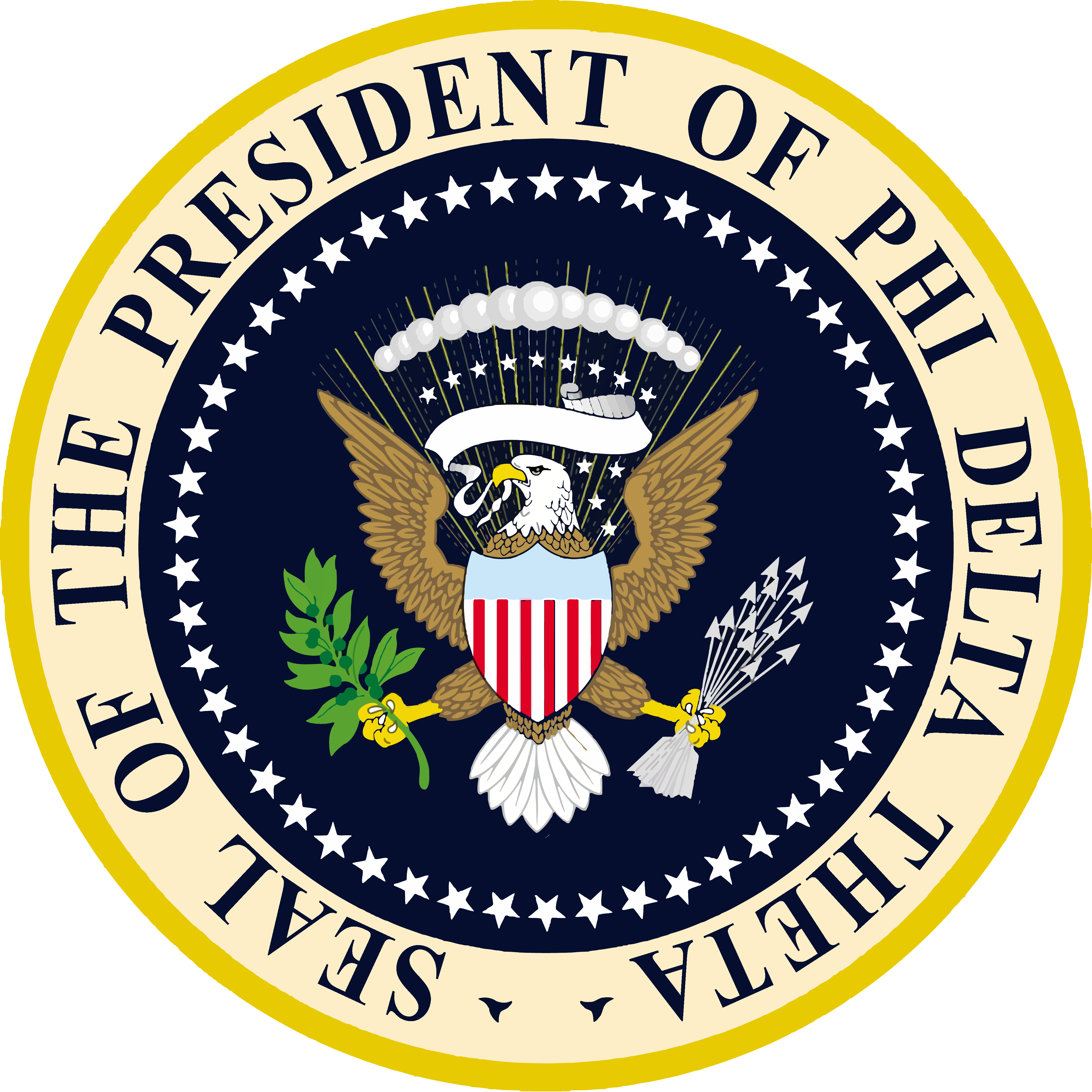Phi Delta Theta The Presidential Seal Of The United States Of America Parody In 2020 Fraternity Coolers Phi Delta Theta Delta