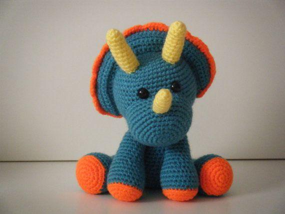 Tripi Triceratops - Crochet dinosaur - Dino - Stuffed Toy ...