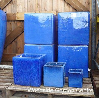 Large Blue Glazed Square Garden Pots
