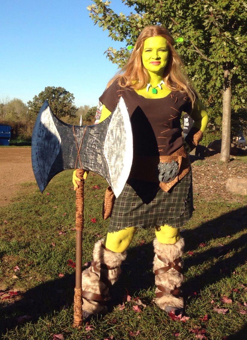 Warrior Fiona From Shrek Forever After Cosplay Ogre Halloween Costume Shrek Costume Diy Shrek And Fiona Costume Shrek Costume