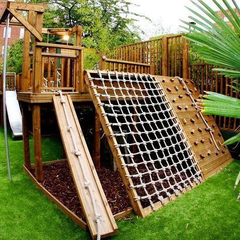 playground with climbing area and net Treehouse Ideas, Treehouses For Kids,  Forts For Kids - 20 Of The Coolest Backyard Designs With Playgrounds Outdoor