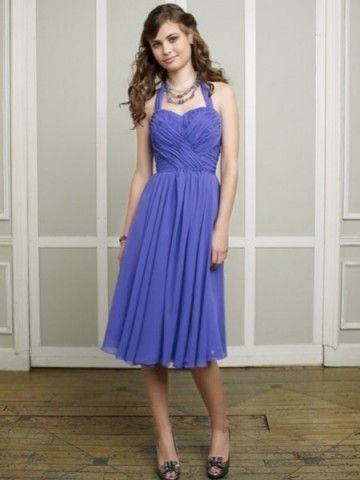 Chiffon Halter Knee Length Shorts Bridesmaid Dress San Jose Model ...