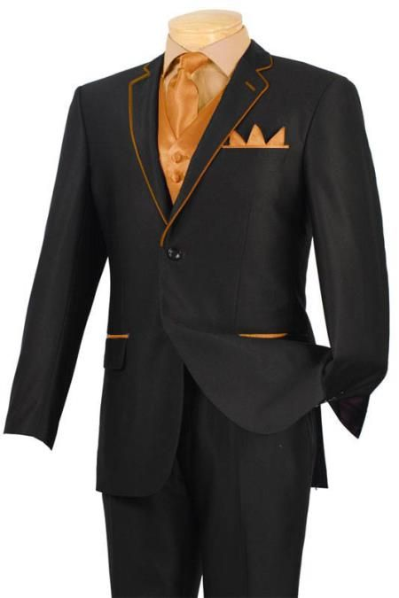 New  tuxedo  black with  orange-peach trim  two  button  notch  5 pc set  with  fancy  vest. 585 4eadf7d637e