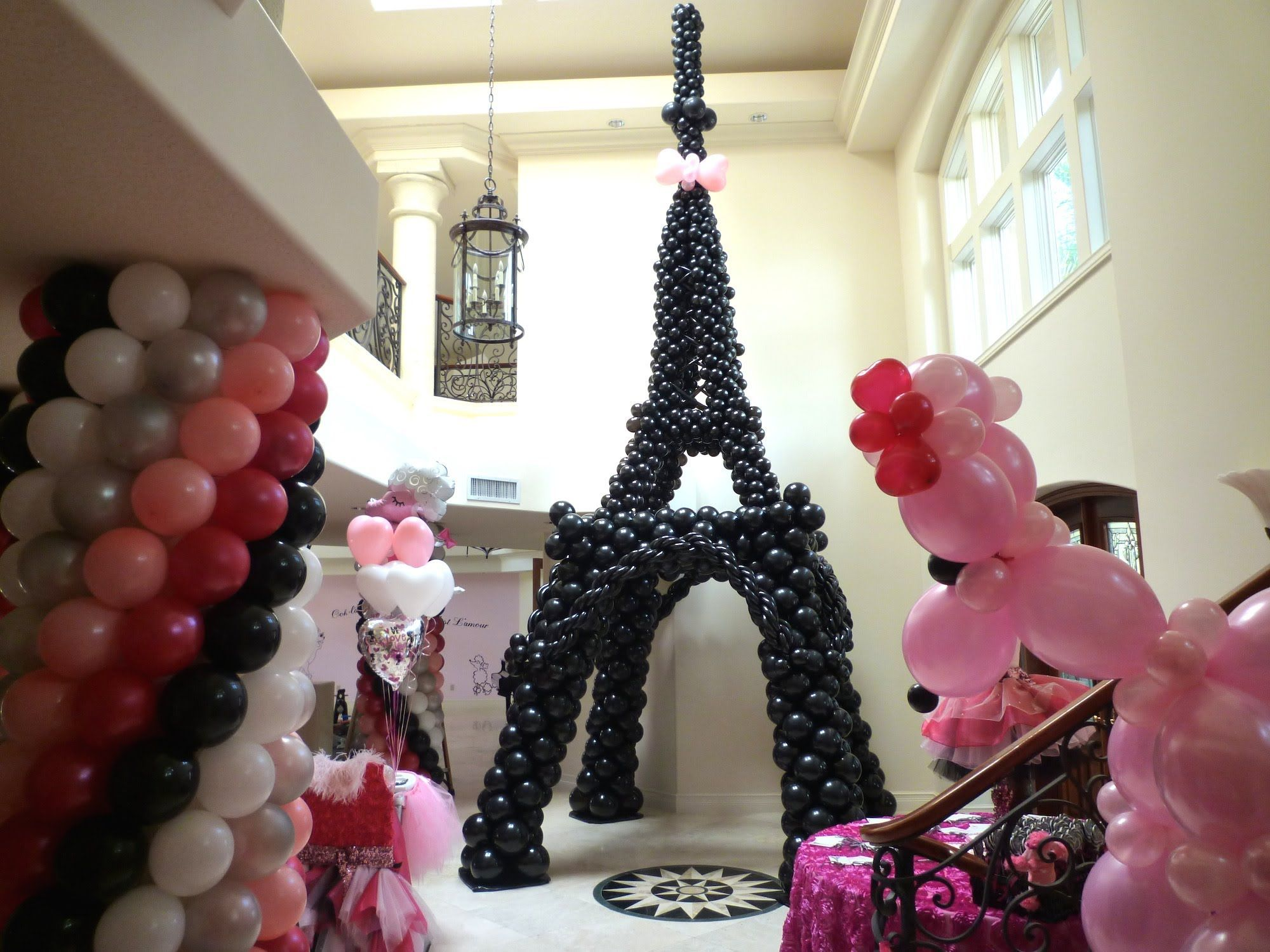 Paris Themed Party Decorating Ideas Part - 27: Pink Poodle In Paris Theme Birthday Party Decoration. Tall Balloon  Sculpture Of Tower In Paris. Many Different Balloon Decor And Dr.