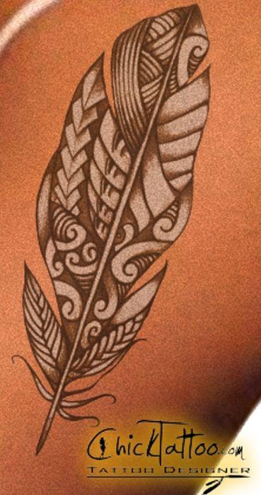 Maori Feather Tattoo: Polynesian Style Feather. Gorgeous Coloring...looks Fake