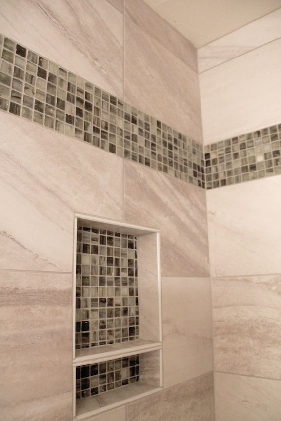 Taupe Tiled Shower With Accent Mosaic Tile Strip And Niche Tile