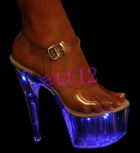 Chic Womens Super High Heel Stage Led Light Platform Buckle Sandal Pumps  Shoes 3215da831