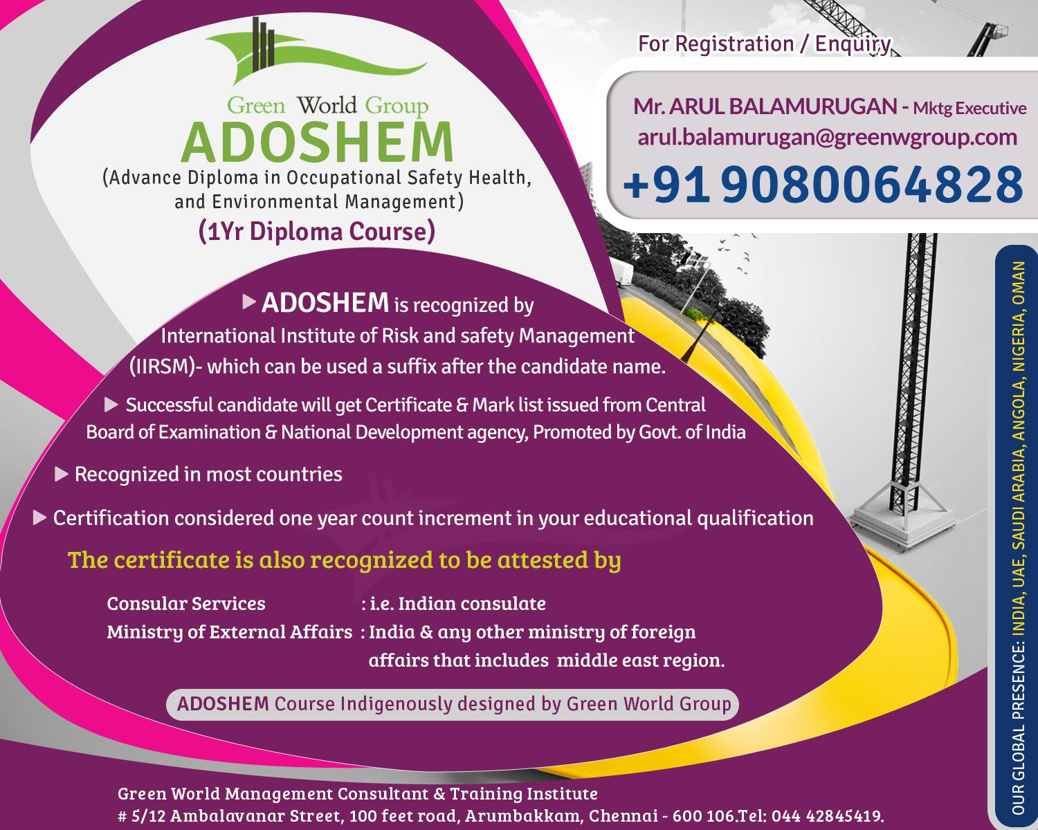 Green World Group Is Well Known For Best Adoshem Advance Diploma In
