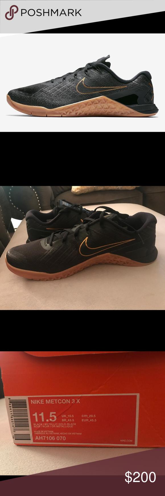 Men's Nike Metcon 3x. Men's Nike Metcon size men's Nike metcon limited  edition black and gold metcon sneakers. ...