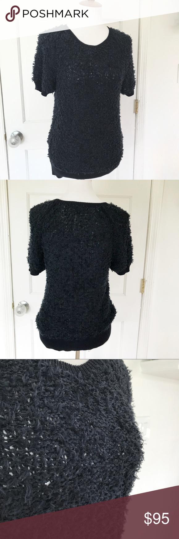A.L.C. Navy fuzzy short sleeve sweater | Soft shorts, Navy colour ...