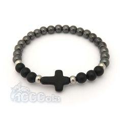 7c400ab61f4 Bracelet homme perles 6mm agate noir mat (onyx) hématite croix pierre  naturelle howlite 16x12mm + anneaux