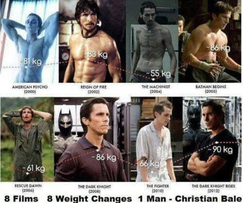 Christian Bale extreme weight loss & gain for different roles. Very dedicated actor.