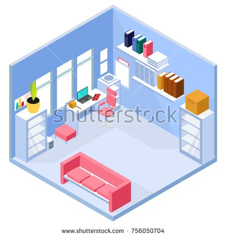 isometric office furniture vector collection. Stock Vector: Isometric Home Office Interior. 3d Workspace With Computer And Furniture. Vector Furniture Collection N