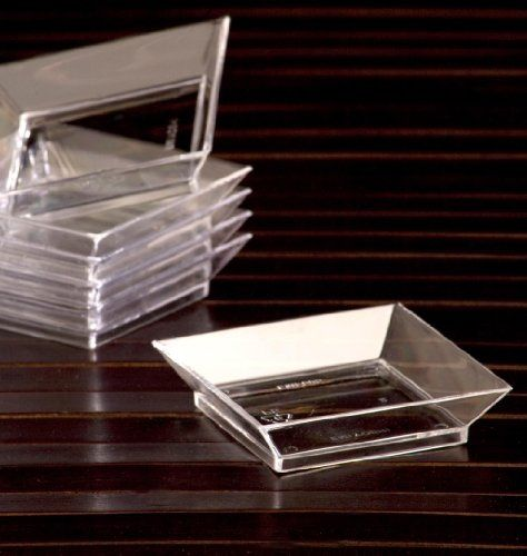 Tasting Appetizer Combo Set / 40 Mini Petite Square Clear Plastic Plates \u0026 50 Silver Tasting & Tasting Appetizer Combo Set / 40 Mini Petite Square Clear Plastic ...