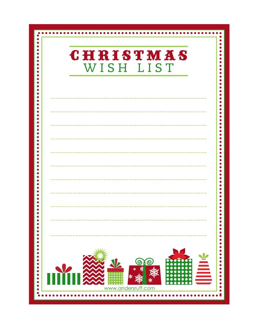 FREE Printable   Christmas List Template For Kids