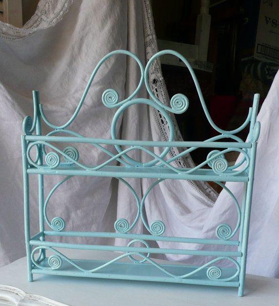 Tiffany Blue Wall Paint: Rattan Shelf Vintage Wicker Wall Pocket Basket